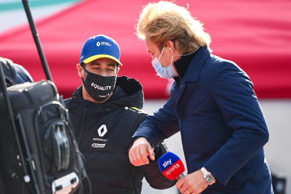 Daniel Ricciardo, Renault F1, is interviewed by Nico Rosberg for Sky Sports F1