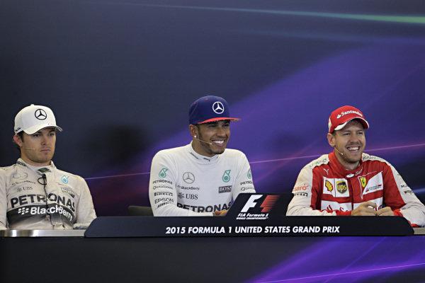 Nico Rosberg (GER) Mercedes AMG F1, Lewis Hamilton (GBR) Mercedes AMG F1 and Sebastian Vettel (GER) Ferrari in the Press Conference at Formula One World Championship, Rd16, United States  Grand Prix, Race, Austin, Texas, USA, Sunday 25 October 2015.