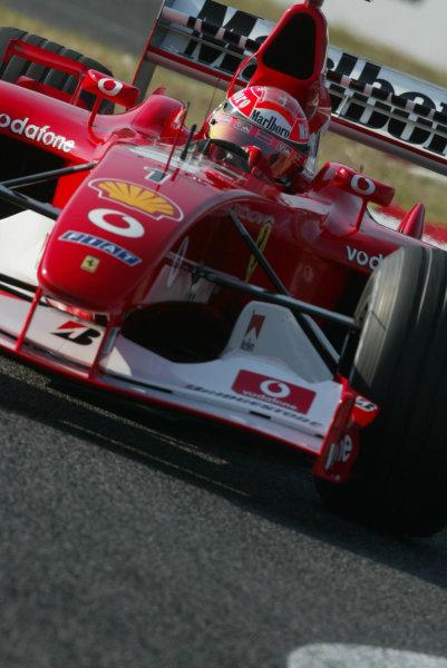 2002 Japanese Grand Prix.Suzuka, Japan. 11-13 October 2002.Michael Schumacher (Ferrari F2002) 1st position.World Copyright - LAT Photographic/Steve Etheringtonref: Digital File Only