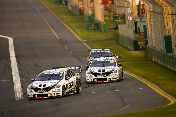 Scott Pye, Walkinshaw Andretti United, Holden, leads James Courtney, Walkinshaw Andretti United, Holden