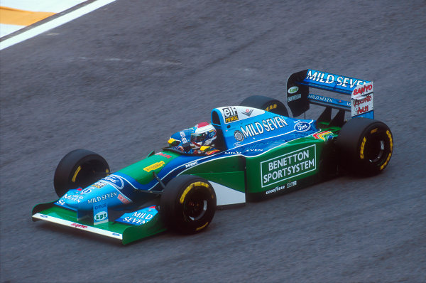 Interlagos, Sao Paulo, Brazil.25-27 March 1994.Jos Verstappen (Benetton B194 Ford). He exited the race after he was hit by Irvine and then barrel-rolled over the top of Brundle's car in a horrifyingly fast crash. This was not the Grand Prix debut that he wanted.Ref-94 BRA 23.World Copyright - LAT Photographic
