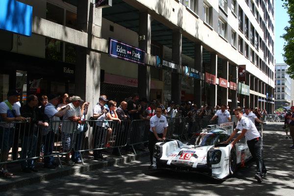 2015 Le Mans 24 Hours. Circuit de la Sarthe, Le Mans, France. Monday 8 June 2015. Porsche Team (Porsche 919 Hybrid - LMP1), Nico Hulkenberg, Earl Bamber, Nick Tandy.  World Copyright: Ebrey/LAT Photographic. ref: Digital Image 20150608_Le_Mans_Scrutineering_02