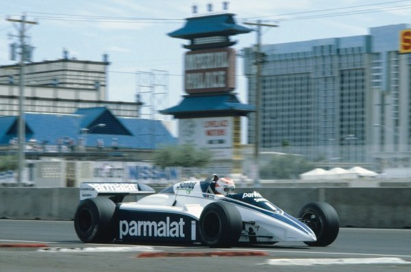 Caesars Palace, Las Vegas, USA. 23rd - 25th September 1982.Nelson Piquet (Brabham BT50-BMW), retired, action. World Copyright: LAT PhotographicRef: 82LV