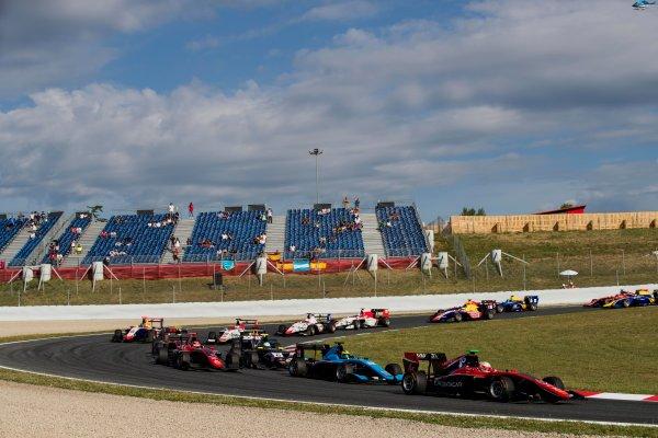 2017 GP3 Series Round 1.  Circuit de Catalunya, Barcelona, Spain. Sunday 14 May 2017. Anthoine Hubert (FRA, ART Grand Prix) leads Alessio Lorandi (ITA, Jenzer Motorsport)  Photo: Zak Mauger/GP3 Series Media Service. ref: Digital Image _56I9663