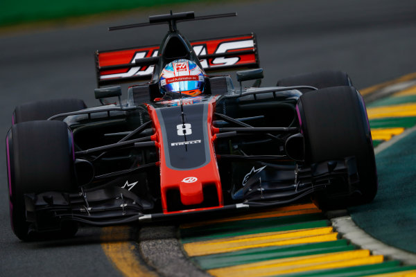 Albert Park, Melbourne, Australia. Saturday 25 March 2017. Romain Grosjean, Haas VF-17.  World Copyright: Steven Tee/LAT Images ref: Digital Image _R3I0281