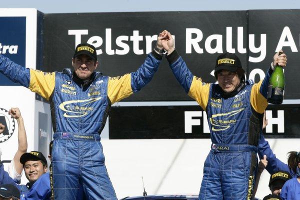 2005 FIA World Rally Champs. Round Sixteen, Rally Australia.10th - 13th November 2004.Toshi Arai & Tony Sircombe, Subaru PWRC, Podium.World Copyright: McKlein/LAT