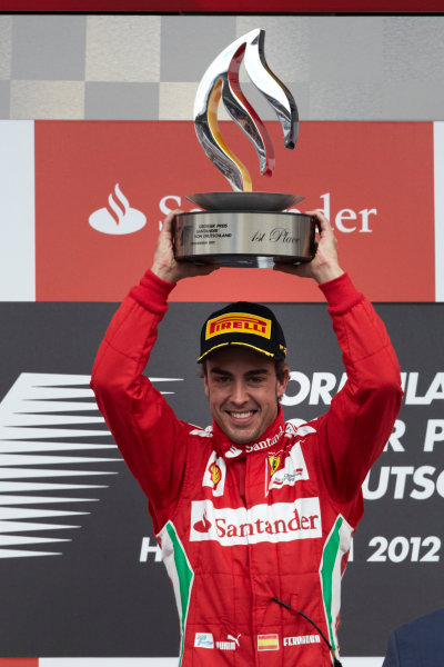 Hockenheimring, Hockenheim, Germany 22nd July 2012 Fernando Alonso, Ferrari, 1st position on the podium. World Copyright: Steve Etherington/LAT Photographic ref: Digital Image HC5C5886 copy