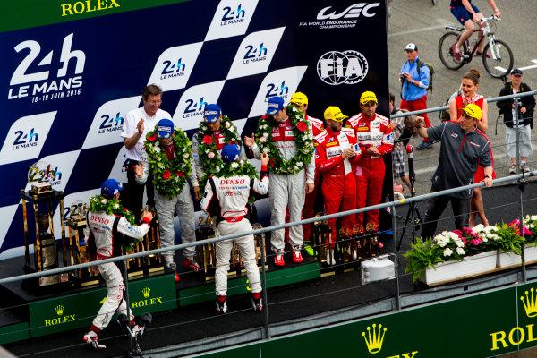 2016 Le Mans 24 Hours. Circuit de la Sarthe, Le Mans, France. Sunday 19 June 2016. Porsche Team / Porsche 919 Hybrid - Romain Dumas (FRA), Neel Jani (CHE), Marc Lieb (DEU), Toyota Gazoo Racing / Toyota TS050 - Hybrid - Stephane Sarrazin (FRA), Michael Conway (GBR), Kamui Kobayashi (JPN), Audi Sport Team Joest / Audi R18 - Lucas Di Grassi (BRA), Loic Duval (FRA), Oliver Jarvis (GBR), Rebellion Racing / Rebellion R-One-AER - Nicolas Prost (FRA), Nick Heidfeld (DEU), Nelson Piquet (NLD).  World Copyright: Zak Mauger/LAT Photographic ref: Digital Image _79P9109