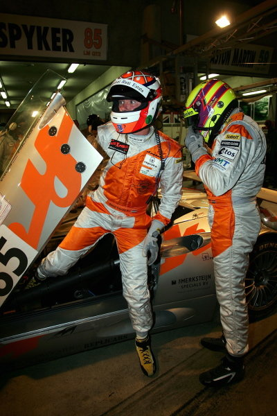 Tom Coronel (NLD)D.Cervels (NLD) P.Van Merkestejin (NLD) Spyker Squadron Spyker C8, driver change during Wednesdays first night time practice session.