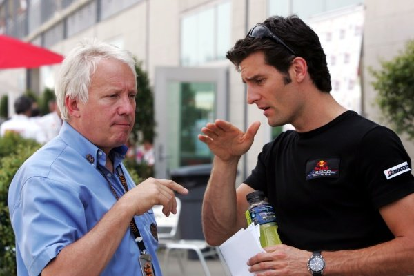 (L to R): Charlie Whiting (GBR) FIA Delegate with Mark Webber (AUS) Red Bull Racing. Formula One World Championship, Rd 7, United States Grand Prix, Qualifying Day, Indianapolis, USA, Saturday 16 June 2007. DIGITAL IMAGE