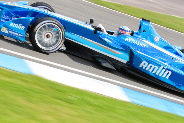 FIA Formula E Test Day, Donington Park, UK.  19th August 2014. Takuma Sato, Amlin Aguri. Photo: Malcolm Griffiths/FIA Formula E ref: Digital Image F80P9228