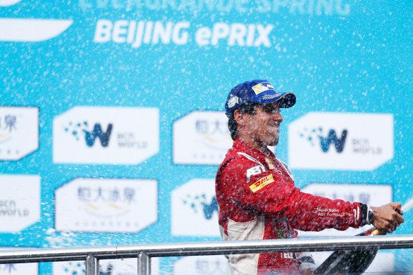 FIA Formula E -  Podium Beijing E-Prix, China Saturday 13 September 2014. Lucas di Grassi (BRA)/Audi Abt Sport - Spark-Renault SRT_01E  Photo: Sam Bloxham/LAT/ Formula E ref: Digital Image _SBL6334