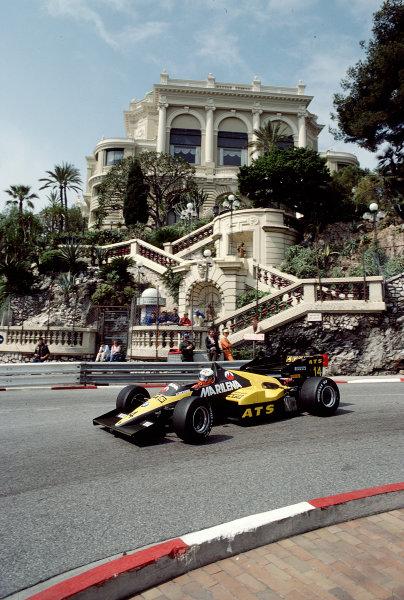 1984 Monaco Grand Prix.Monte Carlo, Monaco.31/5-3/6 1984.Manfred Winkelhock (ATS D7 BMW).Ref-84 MON 62.World Copyright - LAT Photographic