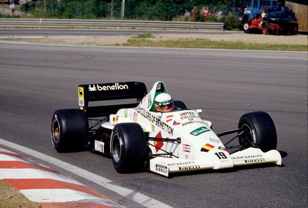 1985 Belgian Grand Prix.Spa-Francorchamps, Belgium.13-15 September 1985.Teo Fabi (Toleman TG185 Hart).Ref-85 BEL 40.World Copyright - LAT Photographic