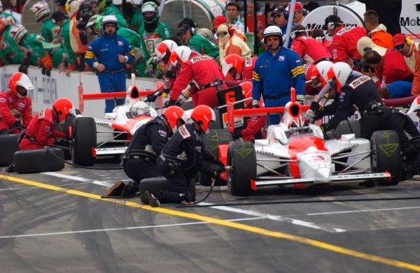 87th Indianapolis 500, Indianapolis Motor Speedway, Speedway, Indiana, USA 25 May,2003Team Penske (Castroneves:front, deFerran: rear) make their first pit stops on the way to a one-two finish.World Copyright-F Peirce Williams 2003 LAT Photographicref: Digital Image Only