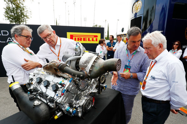 Autodromo Nazionale di Monza, Italy. Thursday 31 August 2017 Didier Perrin, Ross Brawn and Charlie Whiting with the new F2 engine. Photo: Sam Bloxham/FIA Formula 2 ref: Digital Image _W6I1968