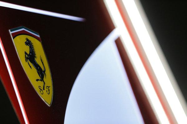 Albert Park, Melbourne, Australia. Friday 13 March 2015. Scuderia Ferrari logo. World Copyright: Alastair Staley/LAT Photographic. ref: Digital Image _R6T0141