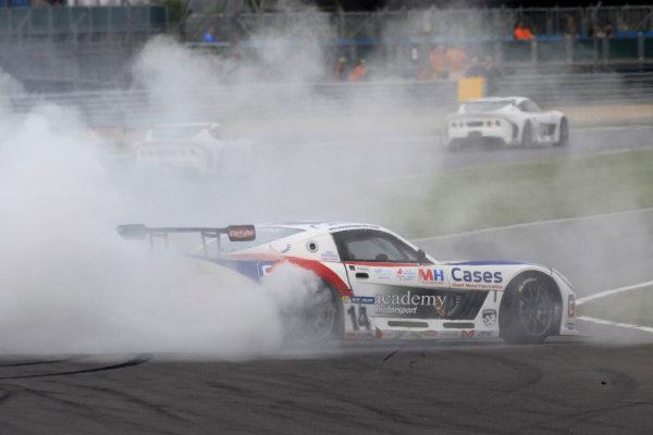 2014 Ginetta GT4 Supercup, Silverstone, England. 27th-28th September 2014. Will Burns (GBR) Academy Motorsport spins. World Copyright: Ebrey / LAT Photographic.