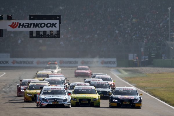 Start of the race - (l-r) Jamie Green (GBR), AMG Mercedes, Martin Tomczyk (GER), Audi Sport Team Phoenix  and Miguel Molina (ESP), Audi Sport Team Abt Junior.