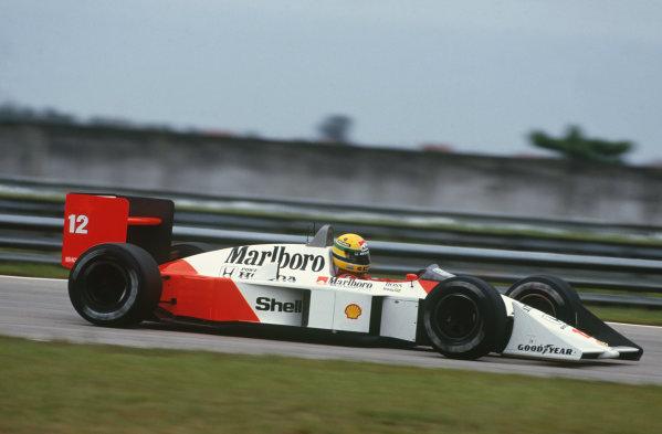 Jacarepagua, Rio de Janeiro, Brazil.1-3 April 1988.Ayrton Senna (McLaren MP4/4 Honda), DQ, action. World Copyright: LAT Photographic.Ref: 88BRA45
