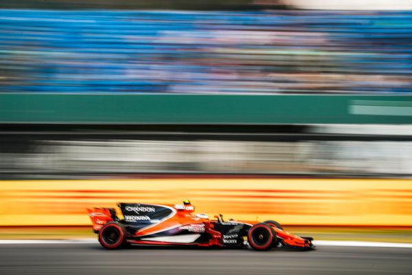 Silverstone, Northamptonshire, UK.  Friday 14 July 2017. Stoffel Vandoorne, McLaren MCL32 Honda. World Copyright: Glenn Dunbar/LAT Images  ref: Digital Image _31I3422