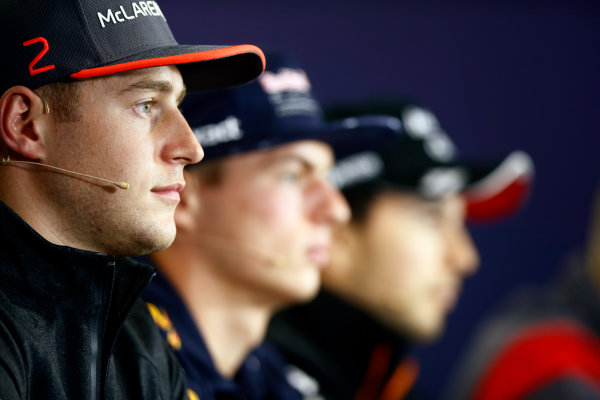Hungaroring, Budapest, Hungary.  Thursday 27 July 2017. Stoffel Vandoorne, McLaren, Max Verstappen, Red Bull Racing, and Sergio Perez, Force India, in the Thursday press conference. World Copyright: Andy Hone/LAT Images  ref: Digital Image _ONY8740