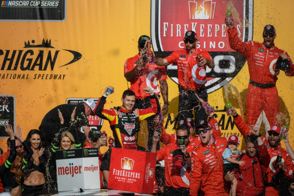 Monster Energy NASCAR Cup Series FireKeepers Casino 400 Michigan International Speedway, Brooklyn, MI USA Sunday 18 June 2017 Kyle Larson, Chip Ganassi Racing, Cars 3 Target Chevrolet SS celebrates in victory lane World Copyright: Logan Whitton LAT Images