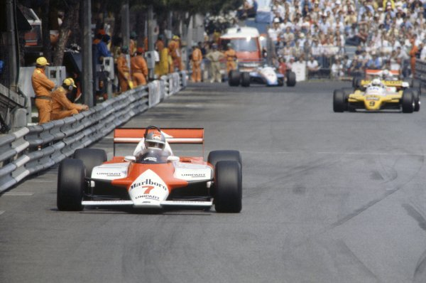 1982 Monaco Grand Prix.Monte Carlo, Monaco. 20-23 May 1982.John Watson (McLaren MP4/1B-Ford Cosworth) leads Manfred Winkelhock (ATS D5-Ford Cosworth).World Copyright: LAT PhotographicRef: 35mm transparency 82MON37