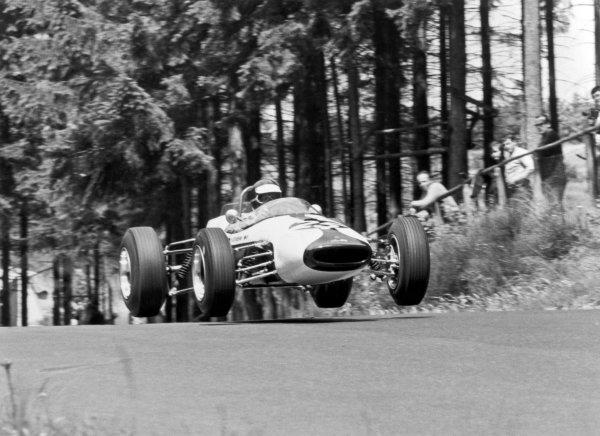 1966 German Grand Prix.Nurburgring, Germany. 7 August 1966.Kurt Ahrens jr, Brabham BT18-Ford, F2 class, action, jump.World Copyright: LAT PhotographicRef: L66/530/35