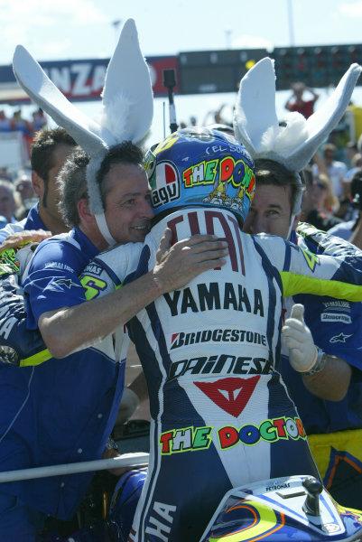 Misano, Italy. 4th - 6th September 2009.Valentino Rossi Fiat Yamaha celebrates with the rest of his Donkeys.World Copyright: Martin Heath/LAT Photographicref: Digital Image 827E9854