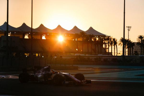 Yas Marina Circuit, Abu Dhabi, United Arab Emirates. Wednesday 29 November 2017. Charles Leclerc, Sauber C36 Ferrari.  World Copyright: Joe Portlock/LAT Images  ref: Digital Image _L5R1163
