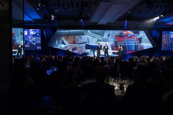 2017 Autosport Awards Grosvenor House Hotel, Park Lane, London. Sunday 3 December 2017. Robert Kubica on stage with Presenters David Coulthard, and Lee McKenzie. World Copyright: Zak Mauger/LAT Images  ref: Digital Image _56I0639