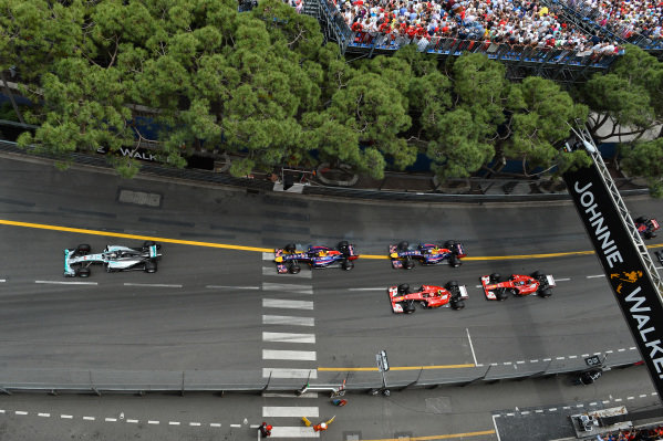 Nico Rosberg (GER) Mercedes AMG F1 W05 leads Lewis Hamilton (GBR) Mercedes AMG F1 W05 at the start of the race.
