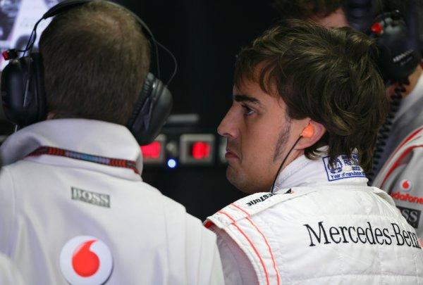 2007 Brazilian Grand Prix - Friday Practice Interlagos, Sao Paulo, Brazil 19th October 2007. Fernando Alonso, McLaren MP4-22 Mercedes. Portrait.  World Copyright: Steve Etherington/LAT Photographic ref: Digital Image WI2T7980