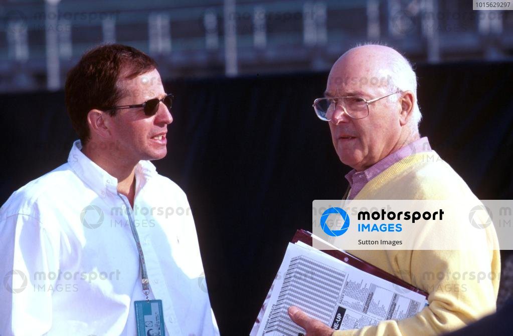 Martin Brundle (GBR) Commentator talks with Murray Walker (GBR) Commentator Formula One World Championship, San Marino Grand Prix, Rd4, Imola, Italy, 27th April 1997.