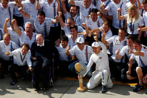 2014 Formula One Austrian Grand Prix, Red Bull Ring, Spielberg, Styria, Austria, 19th - 22nd June 2014.  The Williams F1 Team celebrate Valtteri Bottas, Williams F1, third place podium. World Copyright: ? Andrew Hone Photographer 2014. Ref:  _ONY2677