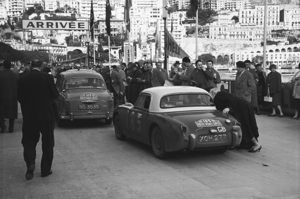 1959 Monte Carlo Rally. Monte Carlo Monaco. 16th - 25th January 1959. Tommy Wisdom / Douglas Johns (Austin-Healey Sprite), 5th in Class, 63rd overall. World Copyright: LAT Photographic.  Ref:  8148A - 25.