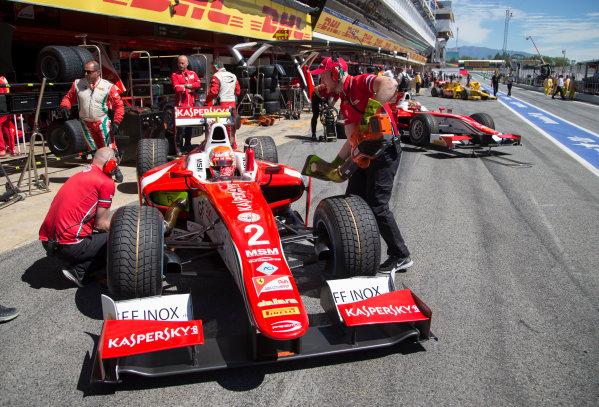 2017 FIA Formula 2 Round 2. Circuit de Catalunya, Barcelona, Spain. Friday 12 May 2017. Antonio Fuoco (ITA, PREMA Racing) next to Charles Leclerc (MCO, PREMA Racing)  Photo: Jed Leicester/FIA Formula 2. ref: Digital Image JL1_9133