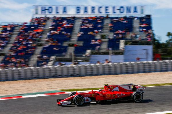 Circuit de Catalunya, Barcelona, Spain. Saturday 13 May 2017. Kimi Raikkonen, Ferrari SF70H. World Copyright: Andy Hone/LAT Images ref: Digital Image _ONZ4895