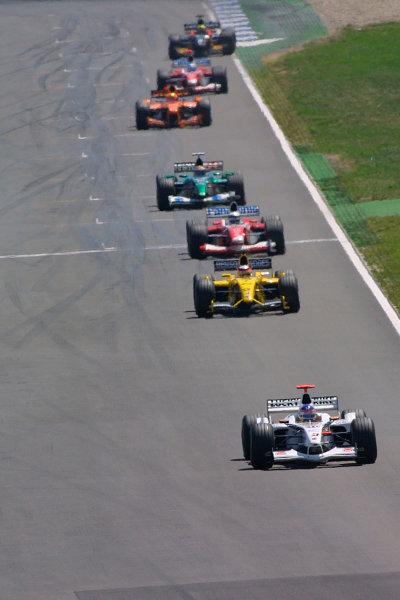 2002 German Grand Prix - Sunday RaceHockenheim, Germany. 28th July 2002.Jacques Villeneuve (B.A R. 004 Honda) followed by Takuma Sato (Jordan EJ12 Honda), Allan McNish (Toyota TF102), Eddie Irvine (Jaguar R3), Enrique Bernoldi (Arrows A23 Cosworth), Mika Salo (Toyota TF102) and Mark Webber (Minardi PS02 Asiatech).World Copyright - LAT Photographicref: digital file