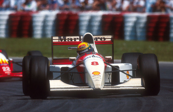 1993 Canadian Grand Prix.Montreal, Quebec, Canada.11-13 June 1993.Ayrton Senna (McLaren MP4/8 Ford) 18th position after his alternator failed.Ref-93 CAN 03.World Copyright - LAT Photographic