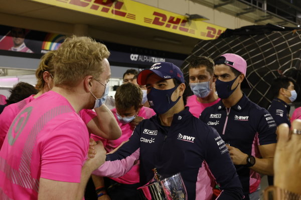 Sergio Perez, Racing Point, 1st position, celebrates victory with his team