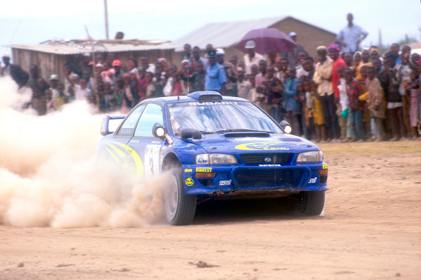 2000 World Rally Championship Safari Rally, Kenya. 24th - 27th Febrauary 2000. Rally winner Richard Burns, Subaru Impreza, action. World Copyright: McKlein/LAT Photographic