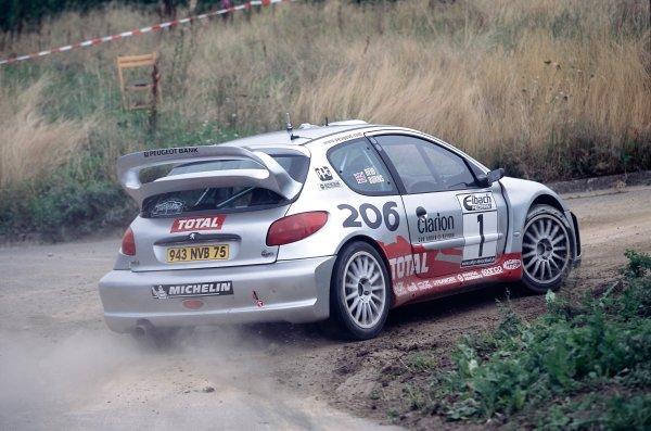 2002 World Rally Championship.ADAC Rallye Deutschland, Trier, Germany. August 22nd - 25th 2002.Richard Burns/Robert Reid (Peugeot 206 WRC), action.Photo: McKlein/LAT Photographicref: 35mm Image A16