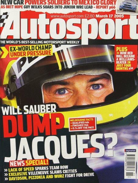 Cover of Autosport magazine, 17th March 2005
