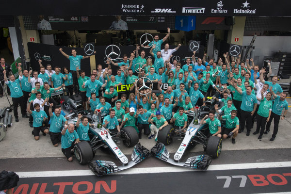 Lewis Hamilton, Mercedes AMG F1 and Valtteri Bottas, Mercedes AMG F1 celebrate winning the Constructors Championship with the team