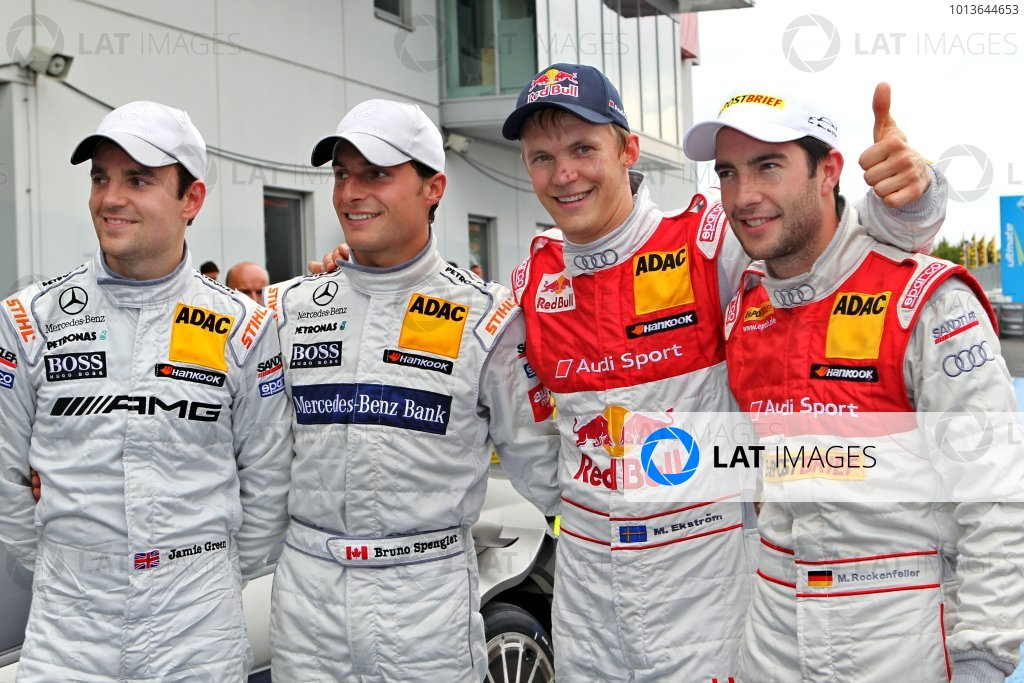 The top four after the qualifying (l-r) Jamie Green (GBR), AMG Mercedes, Bruno Spengler (CDN), Mercedes-Benz Bank AMG, Mattias Ekstrom (SWE), Audi Sport Team Abt Sportsline (pole position) and Mike Rockenfeller (GER) Audi Sport Team Abt Sportsline.DTM, Rd6, Nurburgring, Germany, 6-7 August 2011.World Copyright: LAT Photographicref: Digital Image dne1106au19
