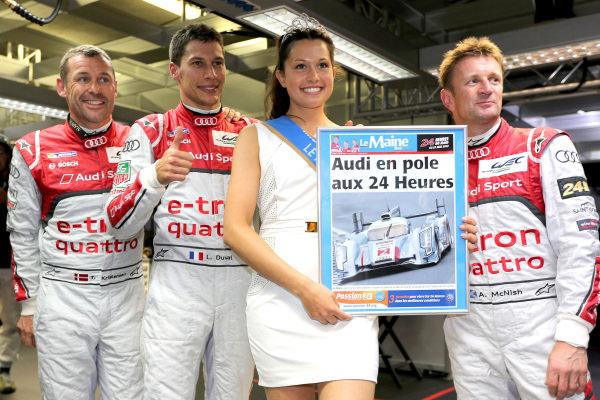 Tom Kristensen (DEN) / Loic Duval (FRA) / Allan McNish (GBR) Audi Sport Team Joest Audi R18 E-Tron Quattro celebrate pole position for the Le Mans 24 Hours, Le Mans, France, 20-23 June 2013.
