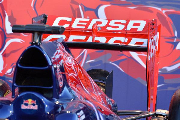 Scuderia Toro Rosso STR9 rear wing. Scuderia Toro Rosso STR9 Launch, Jerez, Spain, Monday 27 January 2014.